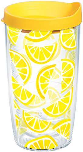 Tervis 1243342 Lemon Trend Tumbler with Wrap and Yellow Lid 16oz, ()