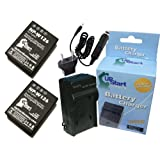 2x Pack - Fujifilm X-A1 Battery + Charger with Car & EU Adapters - Replacement for Fujifilm NP-W126 Digital Camera Battery and Charger (1200mAh, 7.4V, Lithium-Ion)