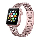 Apple Watch Band 38mm Women, Swees iWatch Jewelry Jewels Dressy Cowboy Style Stainless Steel Metal Link Replacement Bands Wristband for Apple Watch Series 2 (2016) / Series 1 Women Girls, Rose Gold