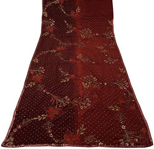 Heavy Vintage Sari 100% Pure Crepe Silk Hand Beaded Embroidered Saree Fabric