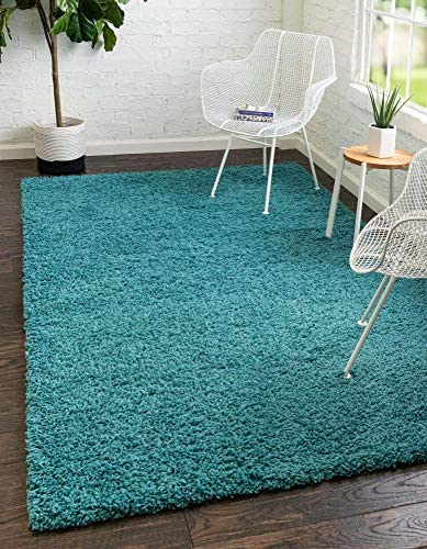 Unique Loom Solo Solid Shag Collection Modern Plush Deep Aqua Blue Area Rug 8' 0 x 10' 0