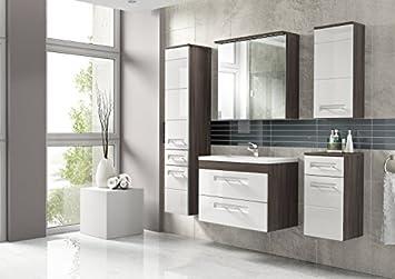 Badezimmermöbel weiß grau  Cosmo 2 Badmöbel-Set / Komplettbad 6-teilig in Weiß Hochglanz ...
