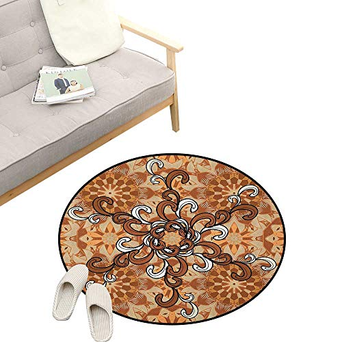 - Tan and Brown Round Rug ,Abstract Floral Ornaments Pattern with Curly Petals Vintage Oriental, Flannel Microfiber Non-Slip Soft Absorbent 47