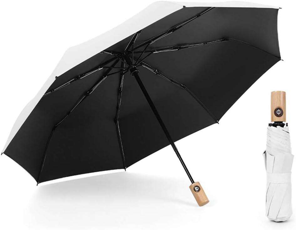 Comeyang Paraguas Compacto y a Prueba de Viento Que Abre y Cierra automáticamente el Paraguas Plegable,Paraguas automático Enrejado Triple plástico Negro Protector Solar color1 100cm: Amazon.es: Hogar