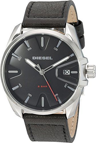Diesel Men's 'MS9' Quartz Stainless Steel and Leather Casual Watch, Color:Black (Model: (Diesel Silver Black Band Watch)