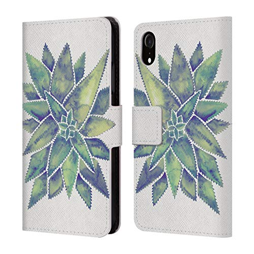 - Official Cat Coquillette Marbled Aloe Vera Tropical Leather Book Wallet Case Cover for iPhone XR