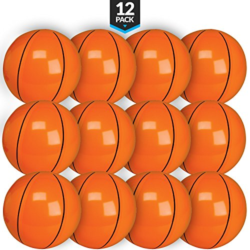 Mini Vinyl Basketball - Bedwina Inflatable Basketballs (Pack of 12) 16 inch, Beach Balls for Sports Themed Birthday Parties, Beach Pool Party, Games, Favors