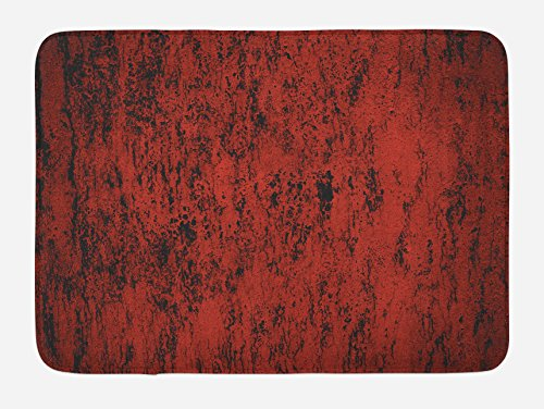 Ambesonne Red and Black Bath Mat, Artistic Abstract Pattern with Grungy Distressed Look and in Vintage Style, Plush Bathroom Decor Mat with Non Slip Backing, 29.5 W X 17.5 W (Distressed Black Bath)