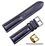 deBeer brand Breitling Style Oil Tanned Leather Watch Band (Silver & Gold Buckle) - Black 22mm