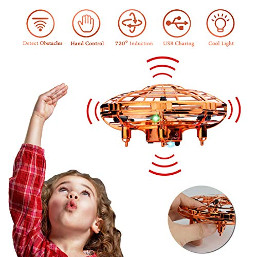 WEW Flying Toy, Easy Indoor Mini Drone Helicopter, 720°Infrared Induction 360° Rotating Hand Controlled Drone for Kids Adults Teenager Home Office- Gold