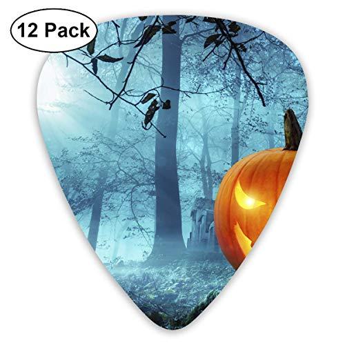 Custom Guitar Picks, Halloween Kürbis in Schauriger Umgebung Bei Mondschein Guitar Pick,Jewelry Gift For Guitar Lover,12 Pack ()