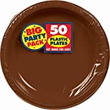 Amscan Big Party Pack 50 Count Plastic Lunch Plates, 10.5-Inch, Chocolate Brown
