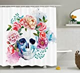 Skulls Decorations Shower Curtain Set by Ambesonne, Funny Skull with Colorful Floral Head Victorian Style Dead Skeleton Graphic Art Print, Bathroom Accessories, 84 Inches Extralong, Multi