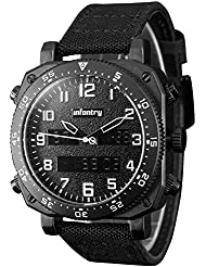 INFANTRY Mens Military Tactical Watch Black Sport Wrist Watches for Men Nylon Band