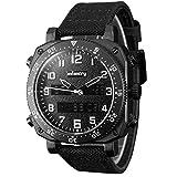 INFANTRY Mens Military Tactical Analog Multifunction Sports Quartz Wrist Watch Black Nylon Band