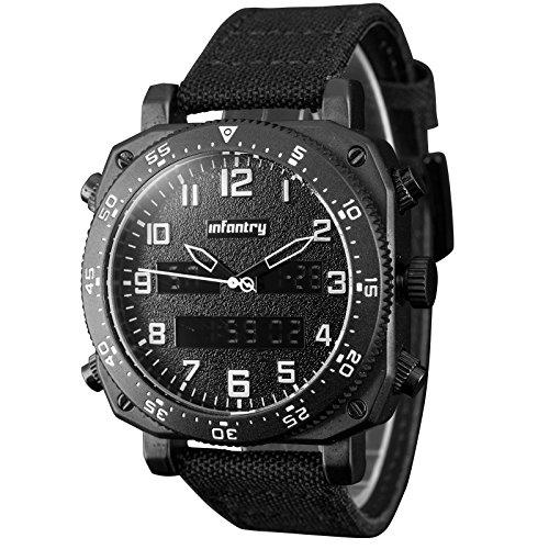 INFANTRY Mens Military Tactical Watch Black Sport Wrist Watches for Men Nylon (Bezel Blk Band)
