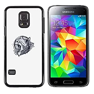 LECELL--Funda protectora / Cubierta / Piel For Samsung Galaxy S5 Mini, SM-G800 -- Lynx Cat Panther Crest --
