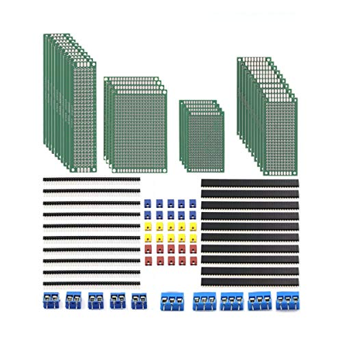 DaFuRui 28Pcs Double Sided PCB Board Prototype 4 Sizes Kit and 20Pcs 40 Pin 2.54mm Male and Female Header Connector + [5Pcsx2P 5Pcsx3P Screw Terminal Blocks and 30Pcs Jumper Caps]