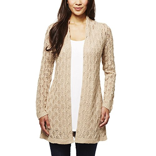 Leo & Nicole Ladies' Pointelle Cardigan (Large, Linen (Tan)) ()