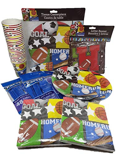 All Sports Birthday Party Bundle, Plates, Cups, Napkins, Decorations and plasticware