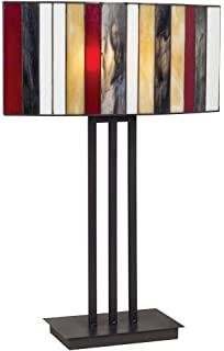 Espresso bronze floating square table lamp amazon striped art glass iron base table lamp mozeypictures Gallery