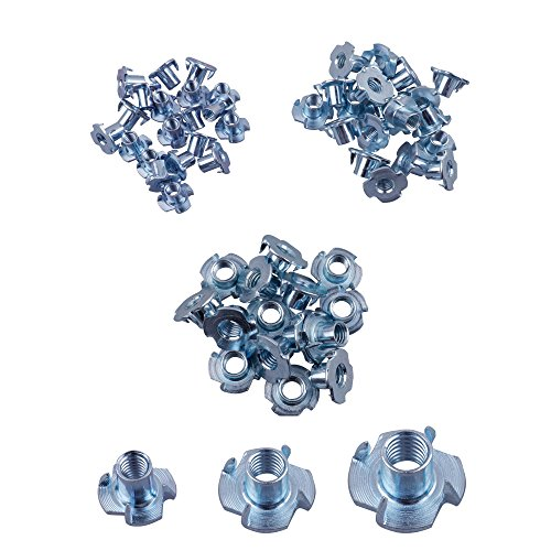 - Eowpower 60Pcs 4 Pronged Zinc Plated Tee T-Nut 1/4