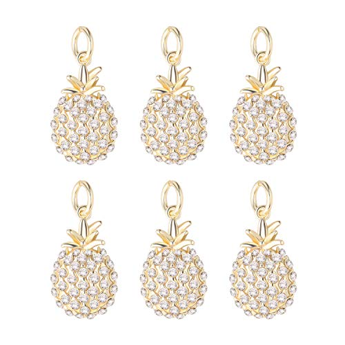 - Wholesale 6 PCS Pineapple Charms Pendant 14K Gold Plated Paved Cubic Zirconia for Necklace Bracelet Jewelry Making