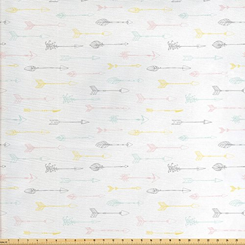Lunarable Ethnic Fabric by the Yard, Native American Culture Arrows Pastel Tribal Design Indigenous Folklore Elements, Decorative Fabric for Upholstery and Home Accents, Multicolor from Lunarable