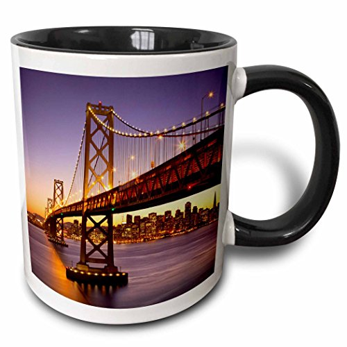3dRose mug_189524_4 Twilight At The Bay Bridge With San Francisco Beyond California Usa Two Tone Mug, Black, 11 oz (San Francisco Mugs)