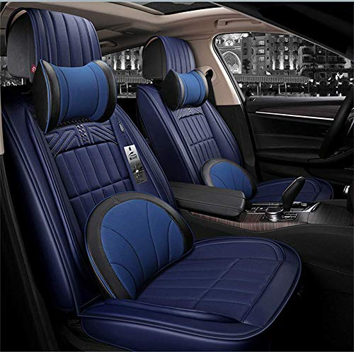 ZHAS FULL SET Universal Fit 5 Seats Waterproof Luxurious Seats Leather Seat Covers Protective Cushion Seat Car Adjustable:
