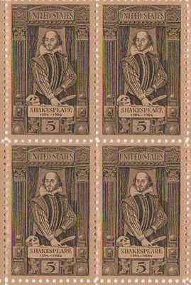William Shakespeare Set Of 4 X 5 Cent US Postage Stamps NEW Scot 1250