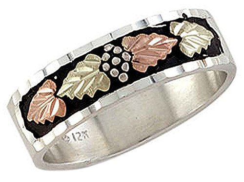Landstroms mens Black Hills Silver Wedding Band with Antiquing - (Landstroms Mens Wedding Ring)