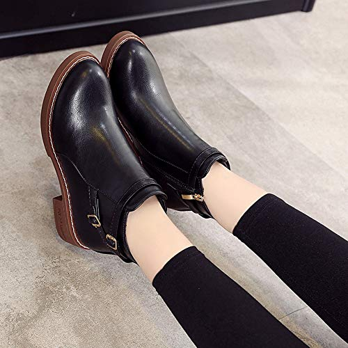 Thick Holywin Toe Shoes Black Round Martin Leather Fashion Womens Zipper Boots Solid Middle rvYrqPS