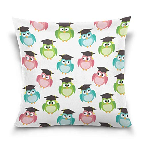 Cartoon Owls with Graduation Caps Cotton Square Throw Pillow Cover Cushion Case with Hidden Zipper for Home & Kitchen, 18x18 Inch (45x45Cm)
