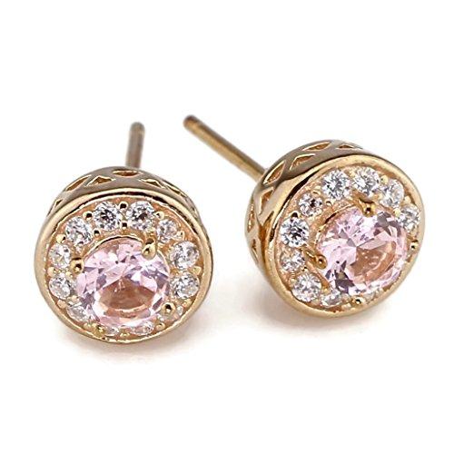 Rose Gold Plated 925 Sterling Silver 4mm Created Rose Pink Morganite Cubic Zirconia CZ Halo Stud Earrings Post (Morganite Set Earrings)