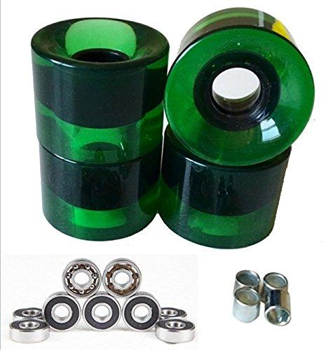 - LMAI A Set of 4 Blank Pro Skateboard Wheels 60mm 83A Black +ABEC 9+ Spacers (Clear Green)