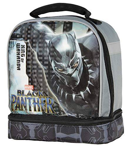 Dual Compartment Lunch Box - Black Panther Boy's Dual Compartment Soft Lunch Box (Black/Grey)