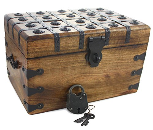 - Well Pack Box Large Antique Style Wooden Pirate Treasure Chest 12