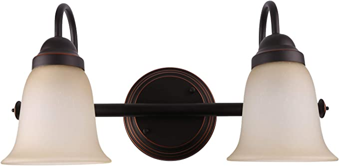 Amazon Com 7pandas Bathroom Vanity Lights Over Mirror 2 Light Indoor Wall Sconce Lighting Fixture With Amber Sandstone Glass Shade Oil Rubbed Bronze Orb Set Of 1 Home Improvement