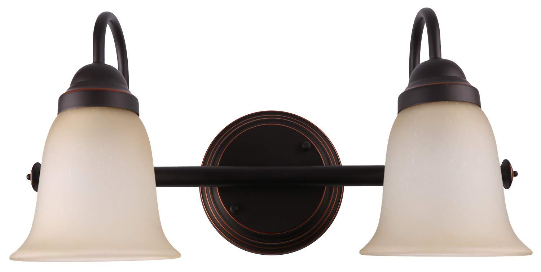 7Pandas Bathroom Vanity Lights Over Mirror, 2 Light Indoor Wall Sconce Lighting Fixture with Amber Sandstone Glass Shade, Oil Rubbed Bronze (ORB), Set of 1