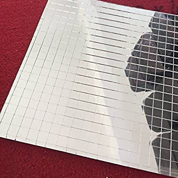 Glass Mosaic Tile Mini Square Mirror Sheet Real Self-Adhesive,Silver Crafts NEW
