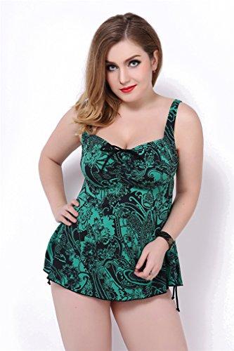 Fortuning's JDS Las señoras sin respaldo Tankini de consigna más el tamaño de traje de baño de dos piezas traje de baño ropa de playa verde