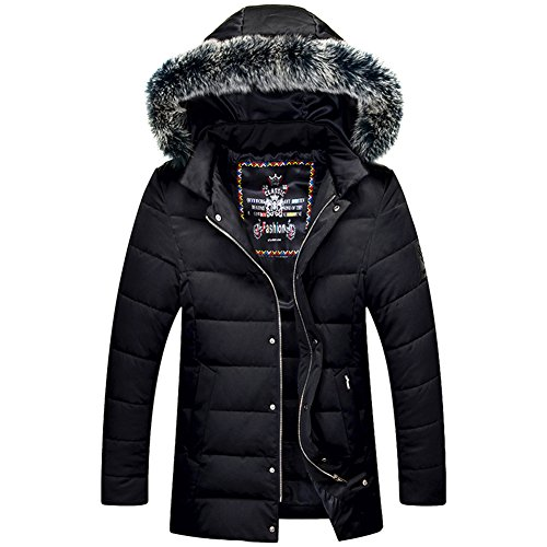[BENNINGCO Men's Winter Thicken Cotton Jacket With Feather Hood(Black,M)] (Mardi Gras Outfit Ideas)