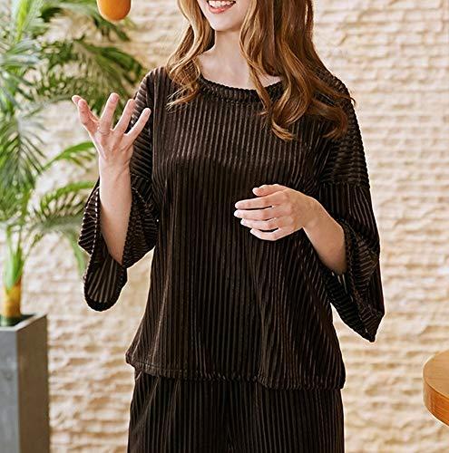 caffè sottile a pigiama due e maniche Pigiama di DEED Pantaloni da servizio comodo caldo donna autunno primavera velluto casa pezzi e oro F5q1np