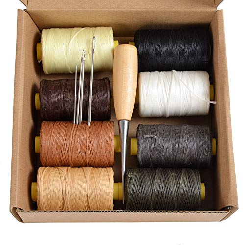 Thread 100m Spool - Pack of 8X 100m Flat Leather Sewing Waxed Thread with 4 Needles and AWL Leather Craft