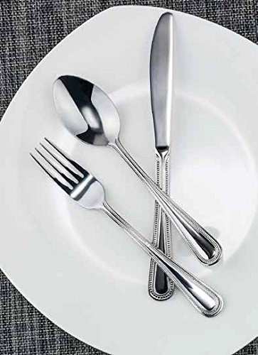 Winco Dots 3 Dozen Flatware Set, Extra Heavy 18-0 Stainless Steel Classic Old-Fashioned Dinner Spoons (Dozen Pack), Dinner Forks (Dozen Pack) and Dinner Knives (Dozen Pack), 36-Piece Set (Dinner Modern Silverplate Knife)