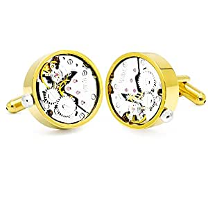 (Gold) - Honey Bear Mens Vintage Watch Movement Cufflinks with Gift Box-Working, Round