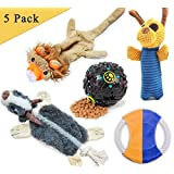 Loobani Dog Toys 5 Set丨 Plush Squeaky Toy Stuffed, Durable Knot Chew Toys, Cotton Rope Frisbee, Dispenses Treat Ball Assortment for Small and Medium Dog