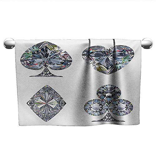 xixiBO Bath Towel Removal W10 x L10 Diamond,Playing Cards Diamonds Hearts Clubs Spades Casino Theme Charm Art Graphic Design,White Silver Water Absorption Multi-Purpose