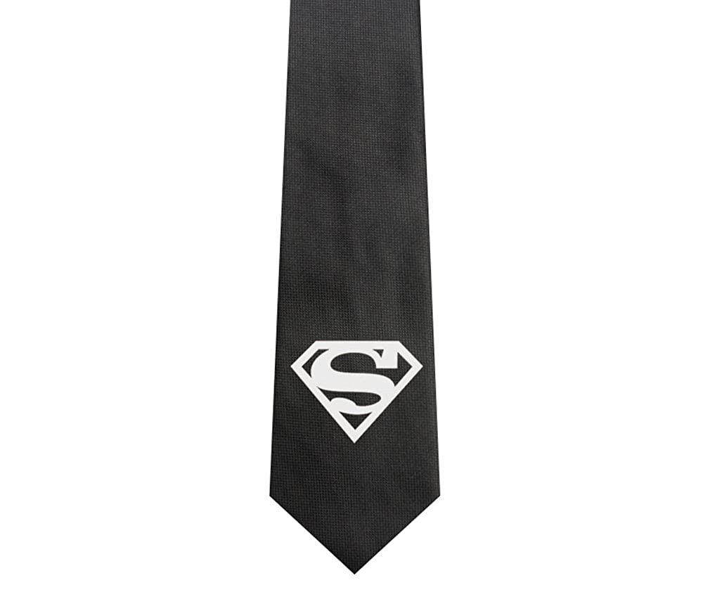 Uyoung Superman Symbol Pattern Black Mens Woven 25 Skinny Tie At